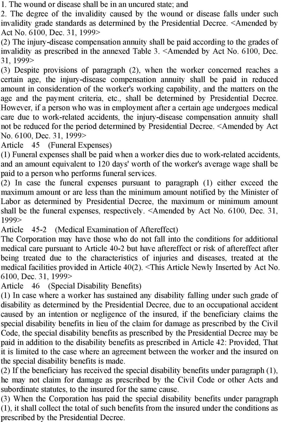 31, 1999> (2) The injury-disease compensation annuity shall be paid according to the grades of invalidity as prescribed in the annexed Table 3. <Amended by Act No. 6100, Dec.
