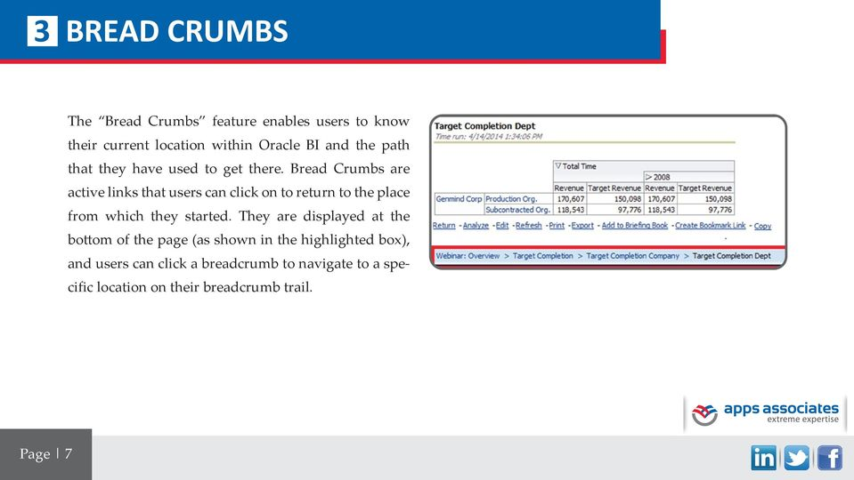 Bread Crumbs are active links that users can click on to return to the place from which they started.