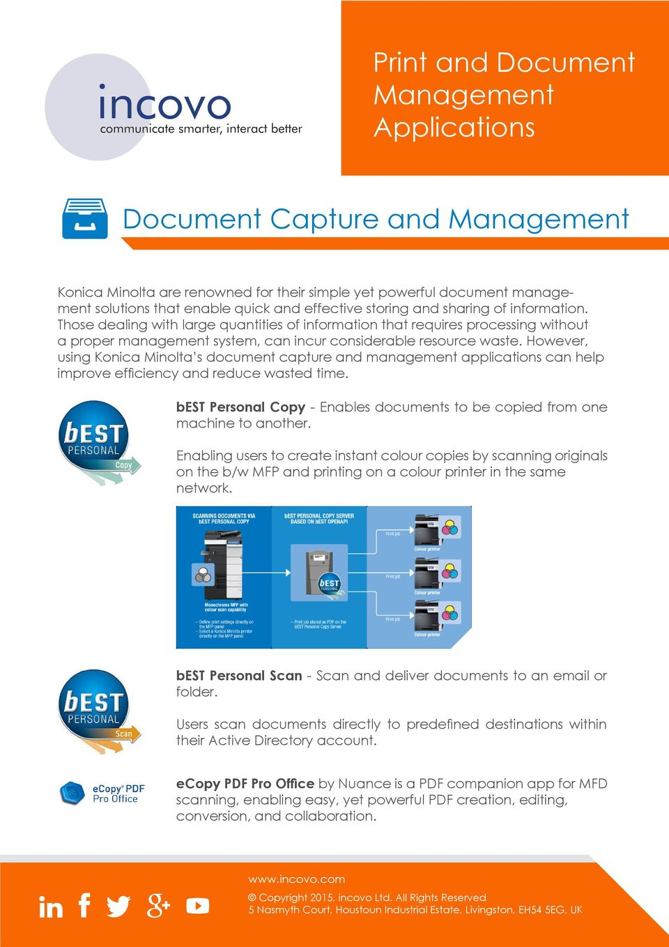 However, using Konica Minolta s document capture and management applications can help improve efficiency and reduce wasted time.