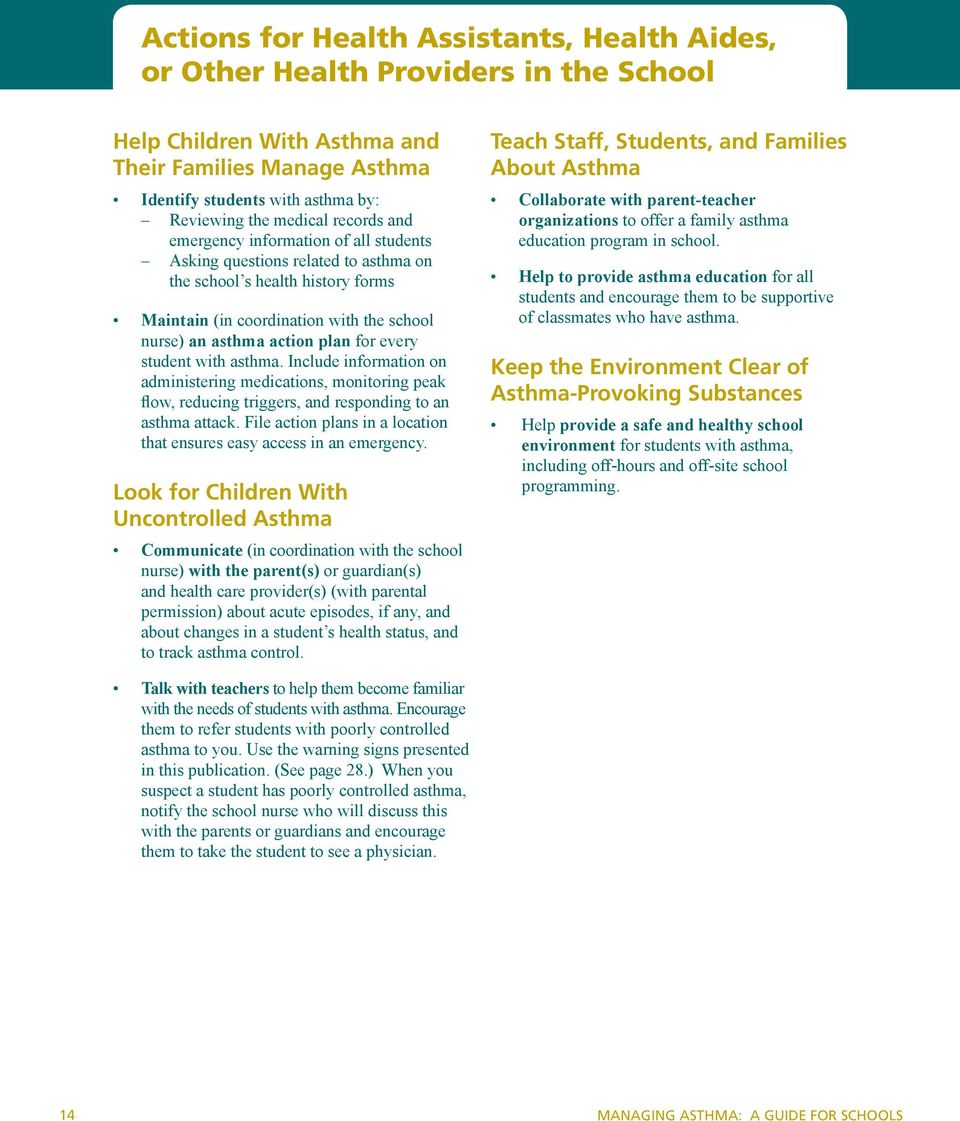 every student with asthma. Include information on administering medications, monitoring peak flow, reducing triggers, and responding to an asthma attack.