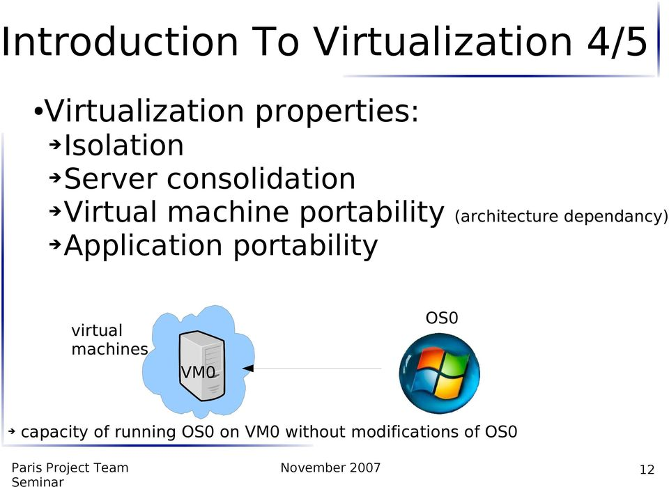 (architecture dependancy) Application portability virtual machines