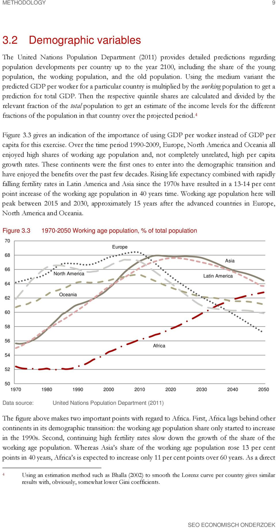 young population, the working population, and the old population.