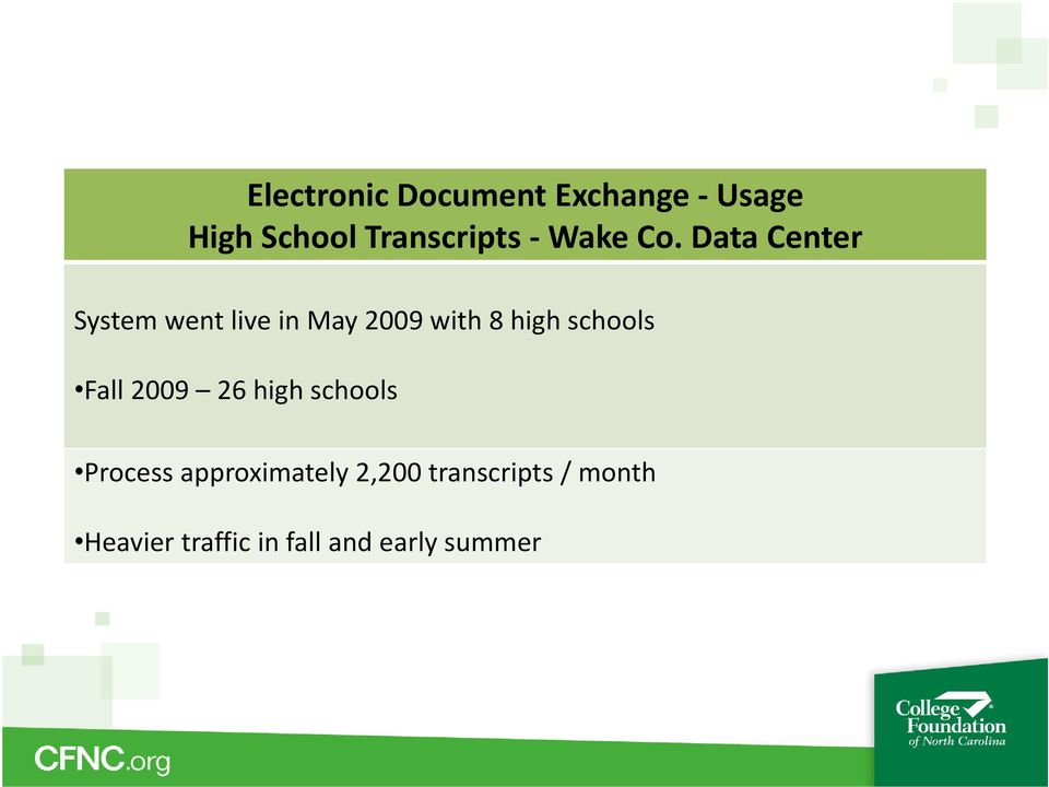 Data Center System went live in May 2009 with 8 high schools