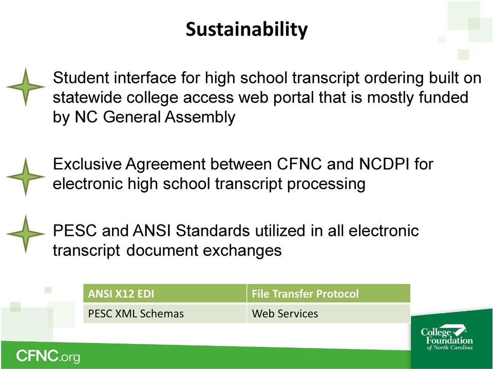 NCDPI for electronic high school transcript processing PESC and ANSI Standards utilized in all