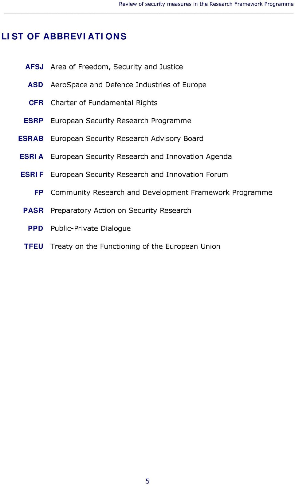 Board ESRIA European Security Research and Innovation Agenda ESRIF European Security Research and Innovation Forum FP Community Research and