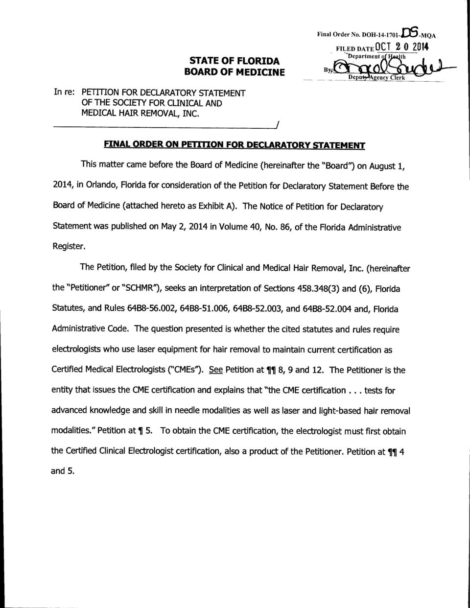 State Of Florida Board Of Medicine Final Order On Petition For