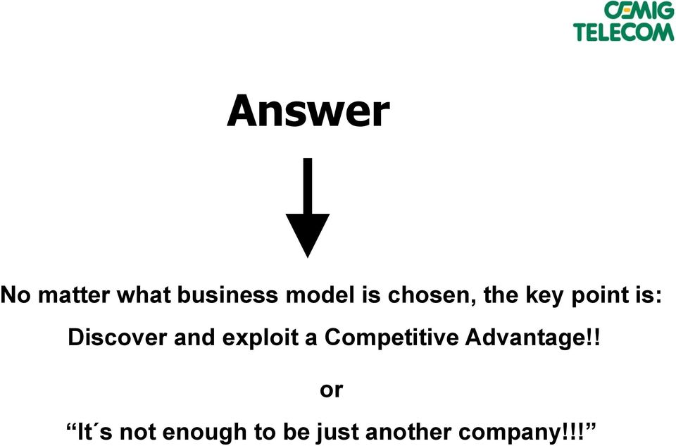 exploit a Competitive Advantage!