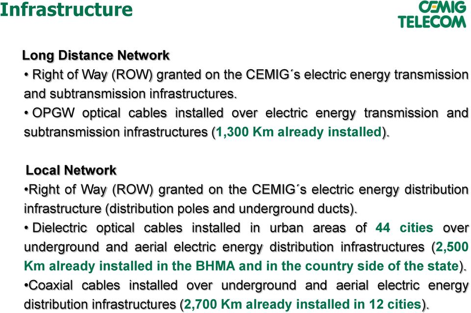 Local Network Right of Way (ROW) granted on the CEMIG s electric energy distribution infrastructure (distribution poles and underground ducts).