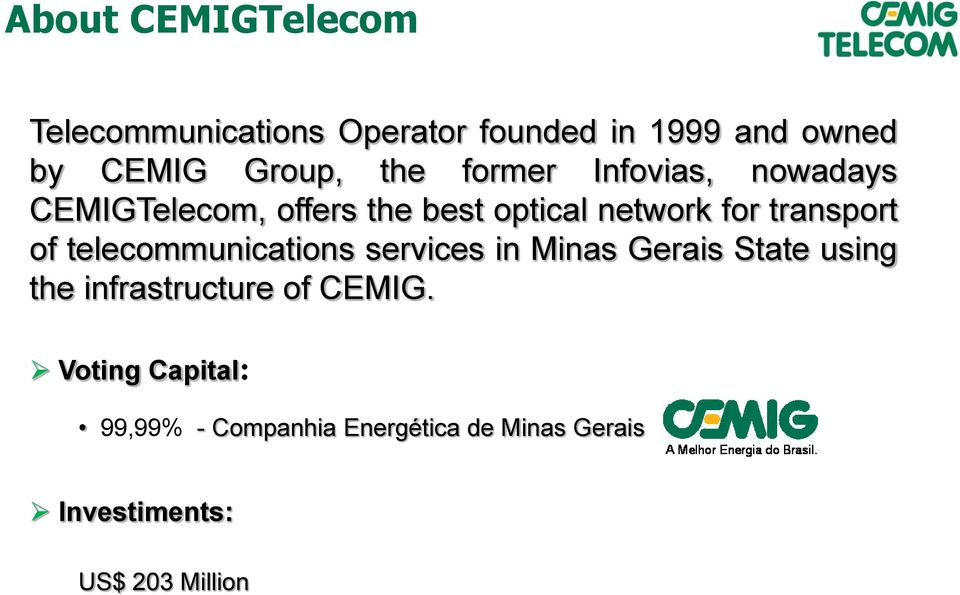 of telecommunications services in Minas Gerais State using the infrastructure of CEMIG.