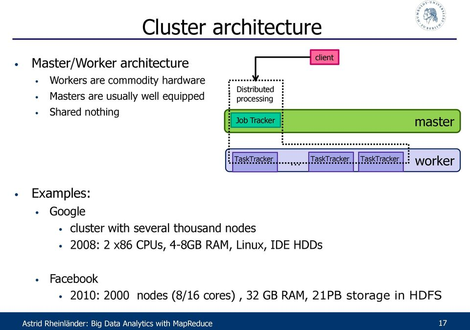 Examples: Google cluster with several thousand nodes 2008: 2 x86 CPUs, 4-8GB RAM, Linux, IDE HDDs Facebook