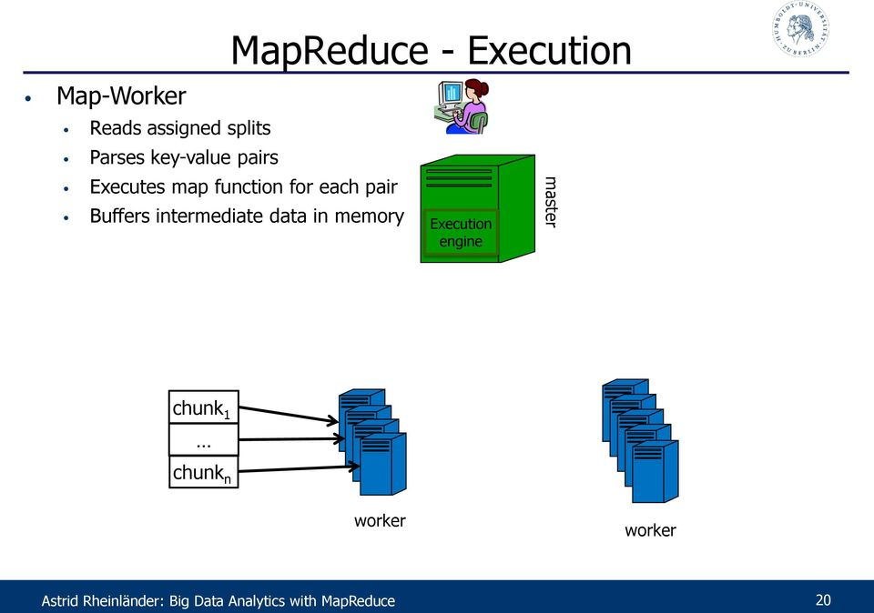 intermediate data in memory Execution engine master chunk 1