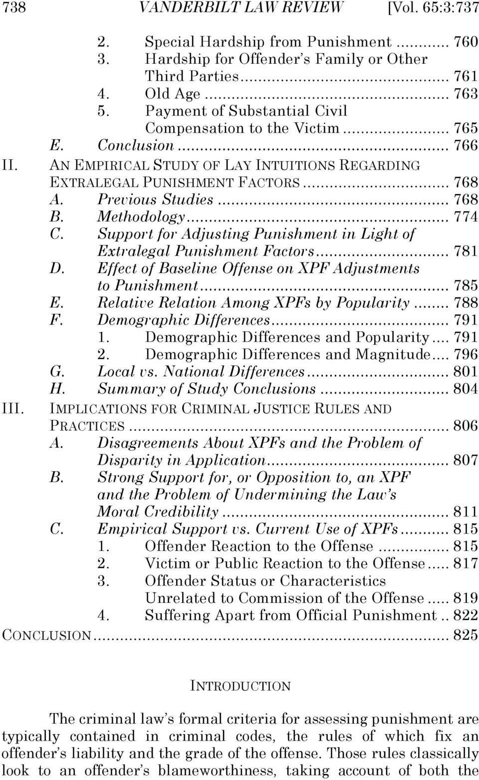 Methodology... 774 C. Support for Adjusting Punishment in Light of Extralegal Punishment Factors... 781 D. Effect of Baseline Offense on XPF Adjustments to Punishment... 785 E.