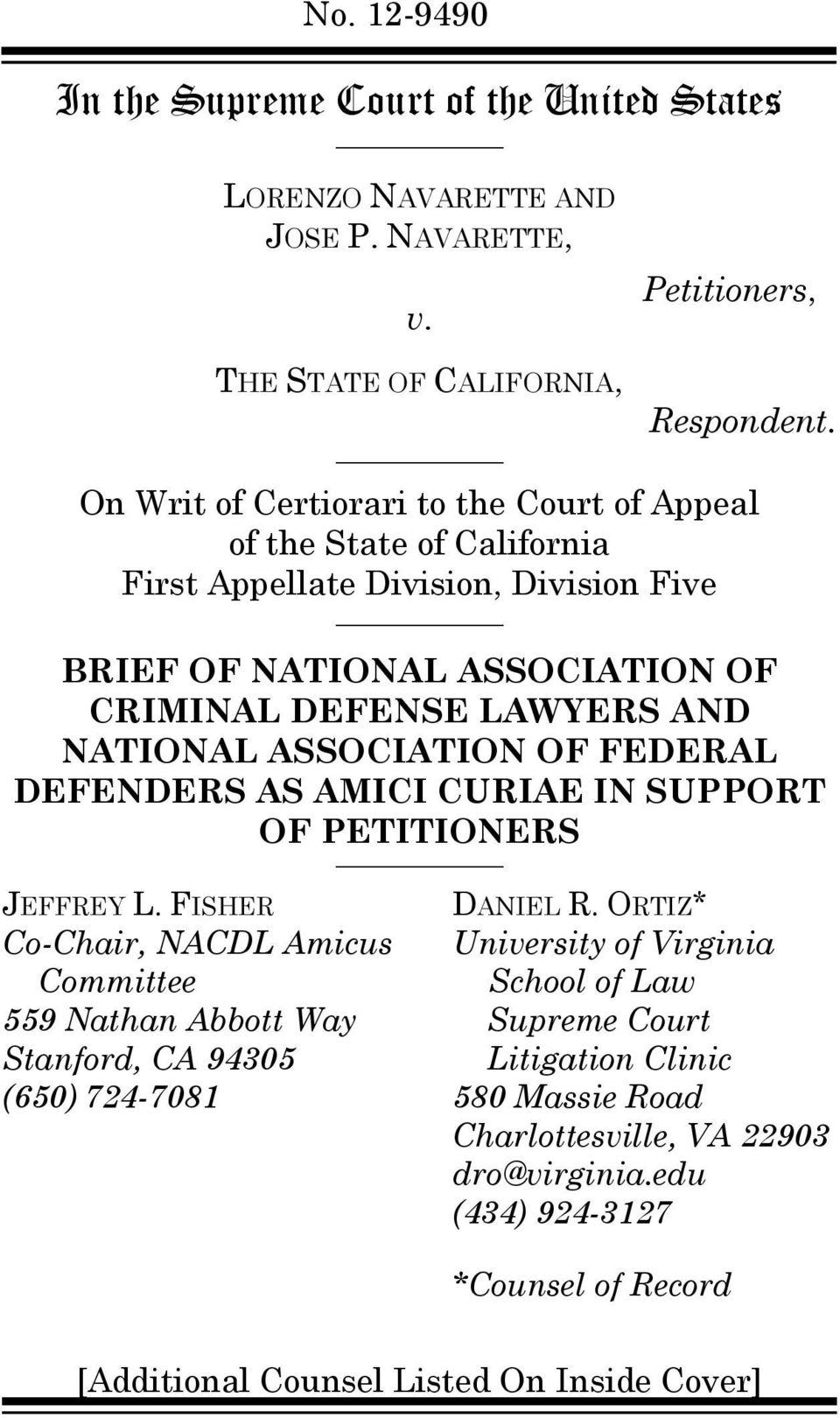 ASSOCIATION OF FEDERAL DEFENDERS AS AMICI CURIAE IN SUPPORT OF PETITIONERS JEFFREY L.