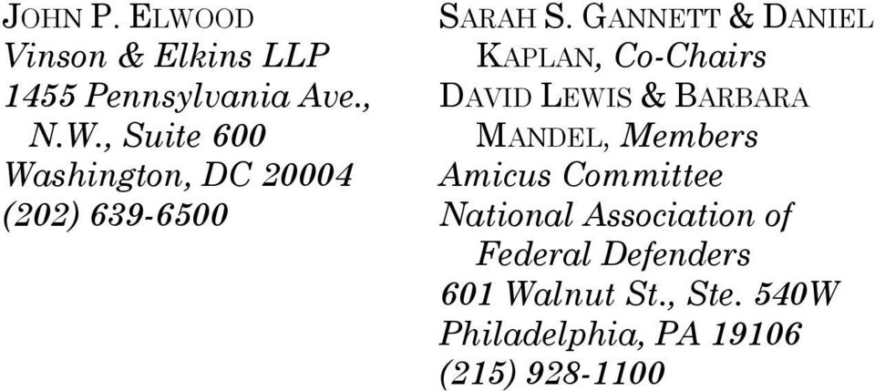 Amicus Committee National Association of Federal Defenders 601 Walnut St., Ste.