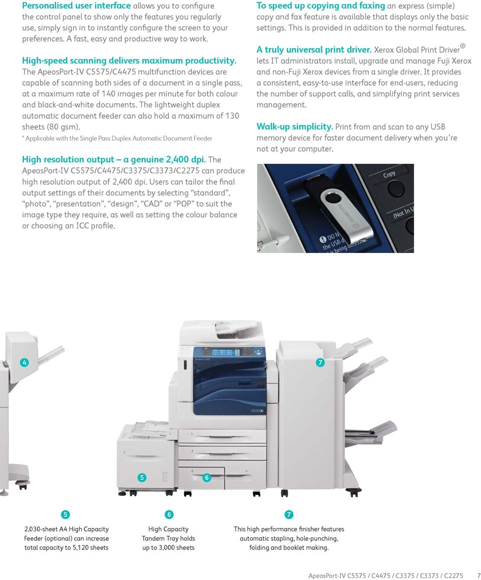 The ApeosPort-IV C5575/C4475 multifunction devices are capable of scanning both sides of a document in a single pass, at a maximum rate of 140 images per minute for both colour and black-and-white