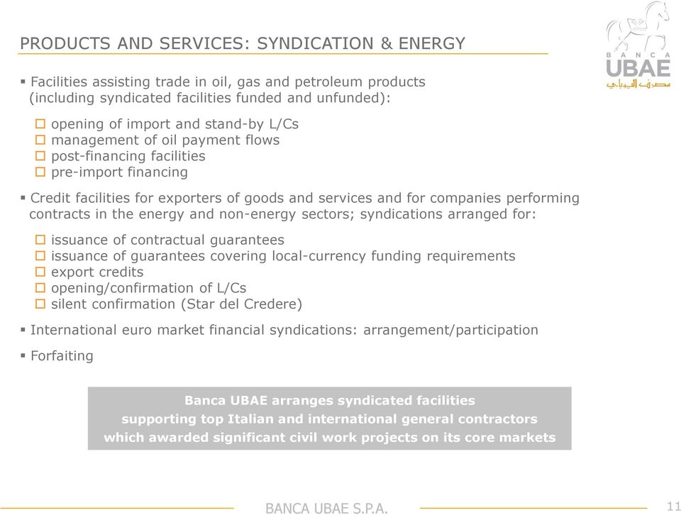 non-energy sectors; syndications arranged for: issuance of contractual guarantees issuance of guarantees covering local-currency funding requirements export credits opening/confirmation of L/Cs