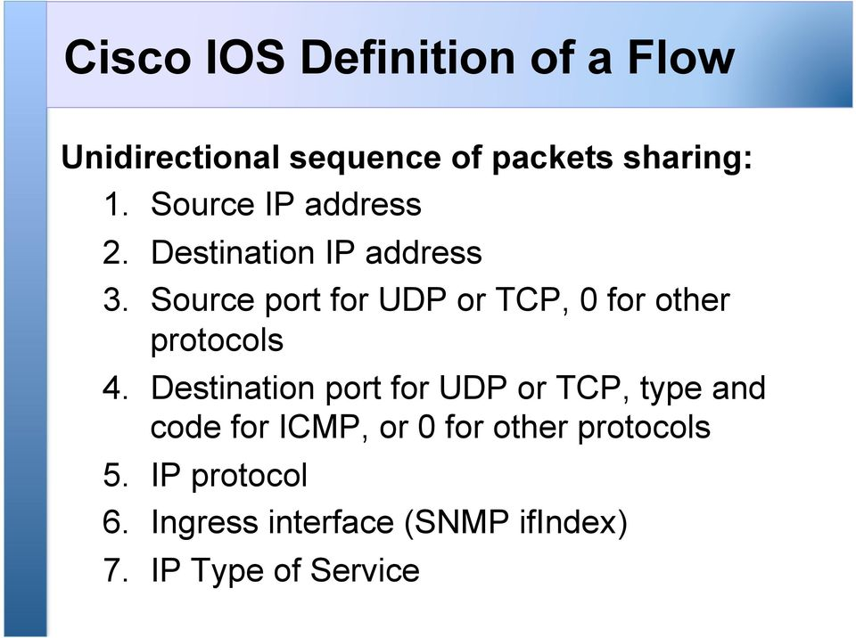 Source port for UDP or TCP, 0 for other protocols 4.