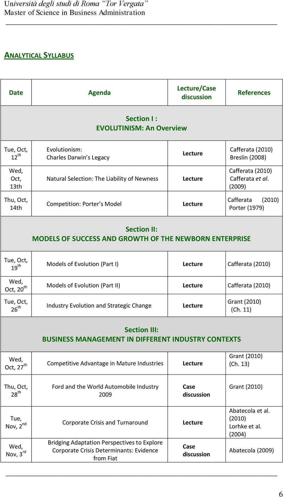 (2009) Thu, Oct, 14th Competition: Porter s Model Cafferata (2010) Porter (1979) Section II: MODELS OF SUCCESS AND GROWTH OF THE NEWBORN ENTERPRISE Oct, 19 th Models of Evolution (Part I) Cafferata
