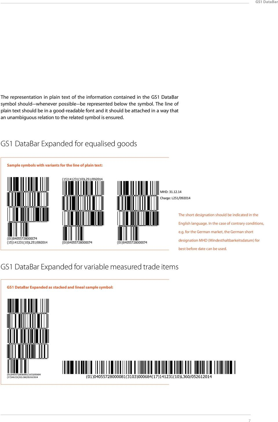 GS1 DataBar Expanded for equalised goods Sample symbols with variants for the line of plain text: MHD: 31.12.