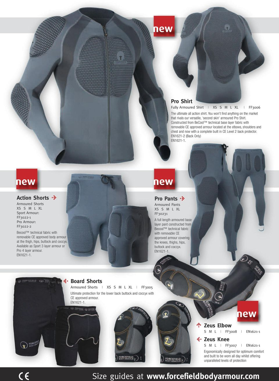 EN1621-2 (Back Only) new Action Shorts Armoured Shorts XS XL Sport Armour: FF3022-1 Pro Armour: FF3022-2 Becool technical fabric with removable CE approved body armour at the thigh, hips, buttock and