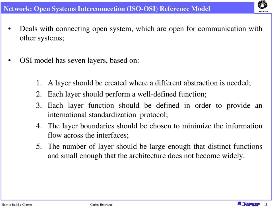 Each layer function should be defined in order to provide an international standardization protocol; 4.