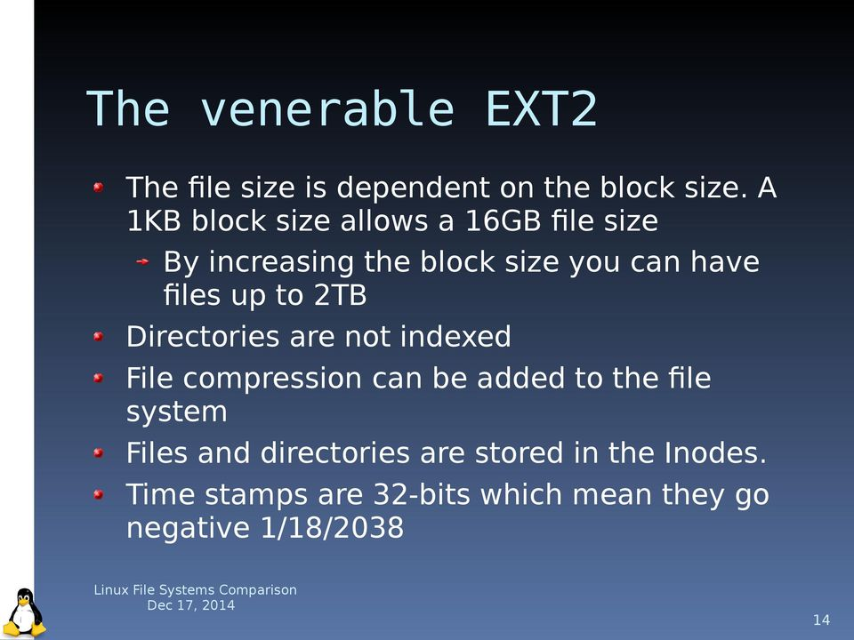 up to 2TB Directories are not indexed File compression can be added to the file system