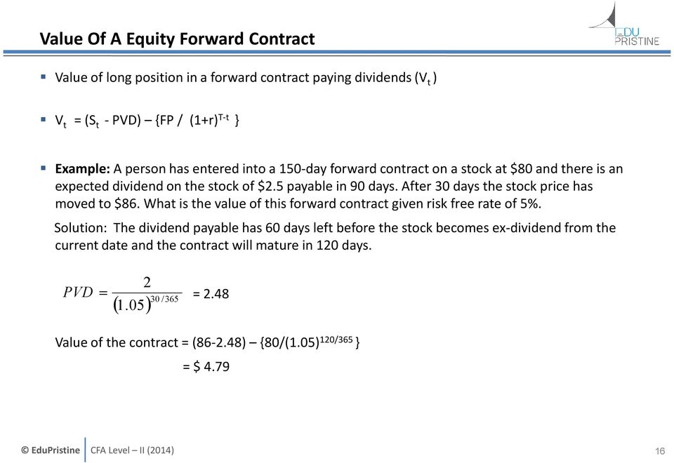 After 30 days the stock price has moved to $86. What is the value of this forward contract given risk free rate of 5%.