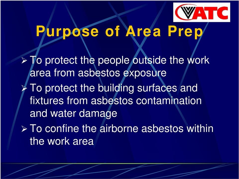 surfaces and fixtures from asbestos contamination and