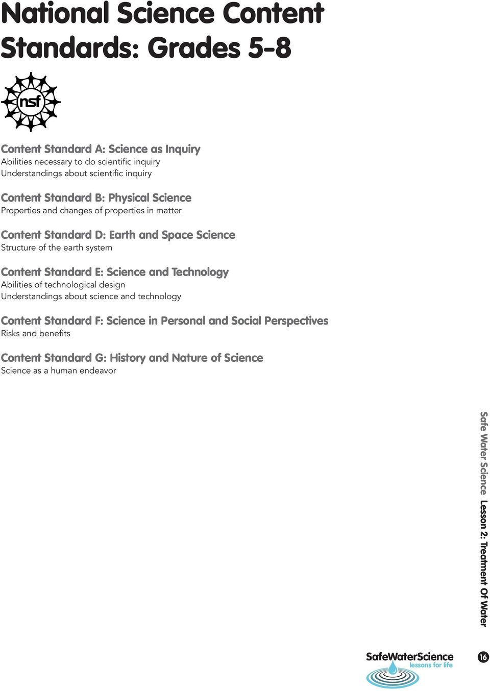 Content Standard E: Science and Technology Abilities of technological design Understandings about science and technology Content Standard F: Science in Personal and