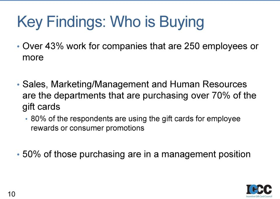 over 70% of the gift cards 80% of the respondents are using the gift cards for employee