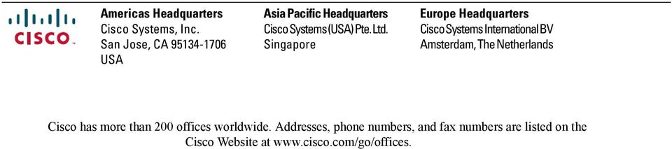 Singapore Europe Headquarters Cisco Systems International BV Amsterdam, The Netherlands
