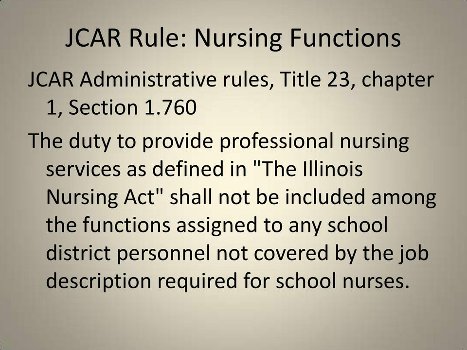 "760 The duty to provide professional nursing services as defined in ""The Illinois"