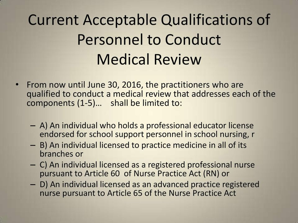 personnel in school nursing, r B) An individual licensed to practice medicine in all of its branches or C) An individual licensed as a registered professional