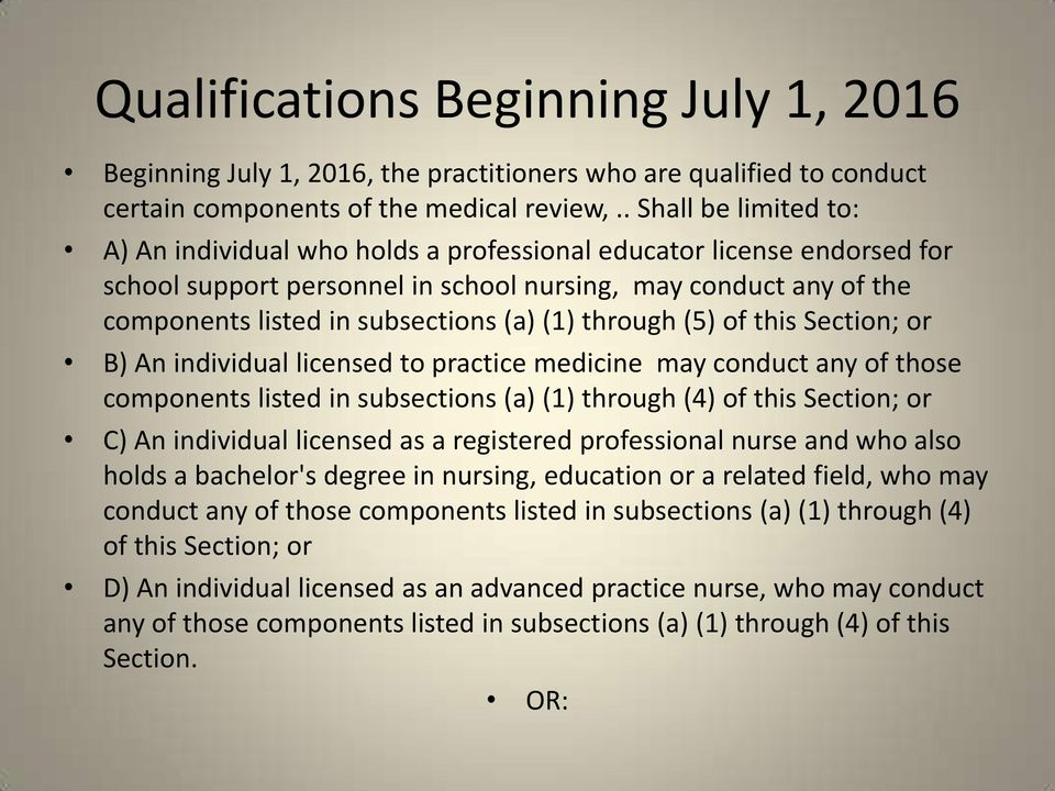 (1) through (5) of this Section; or B) An individual licensed to practice medicine may conduct any of those components listed in subsections (a) (1) through (4) of this Section; or C) An individual