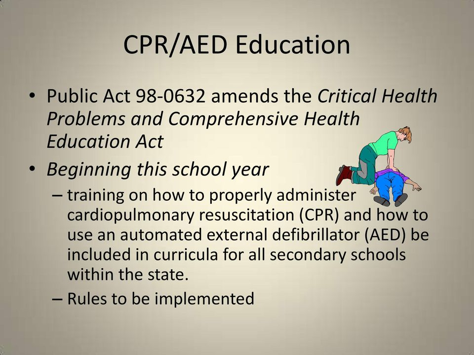 cardiopulmonary resuscitation (CPR) and how to use an automated external defibrillator