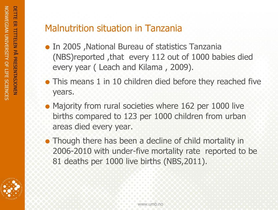 Majority from rural societies where 162 per 1000 live births compared to 123 per 1000 children from urban areas died every year.
