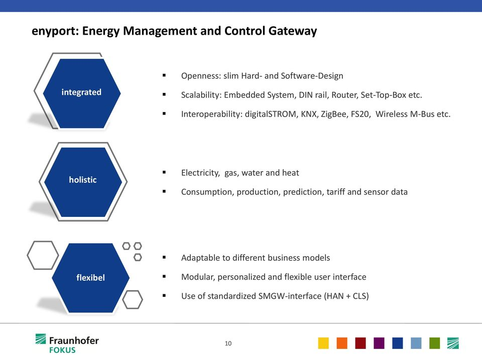 holistic Electricity, gas, water and heat Consumption, production, prediction, tariff and sensor data Adaptable to