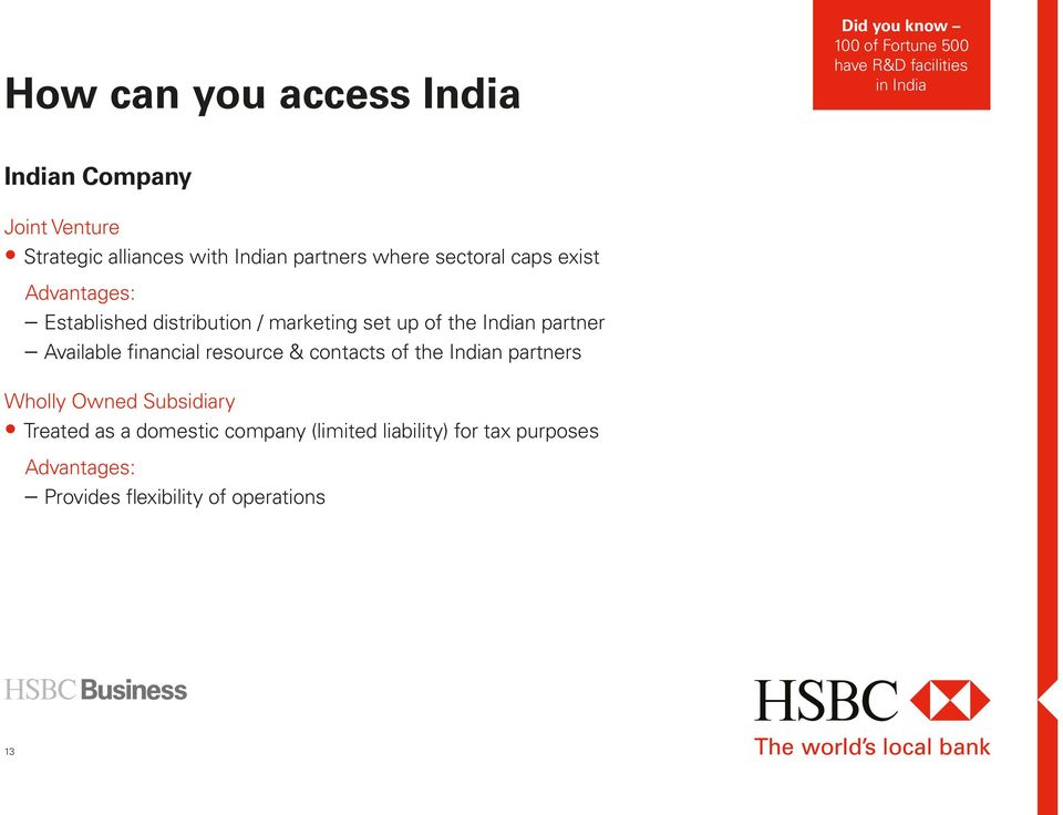 set up of the Indian partner Available financial resource & contacts of the Indian partners Wholly Owned Subsidiary