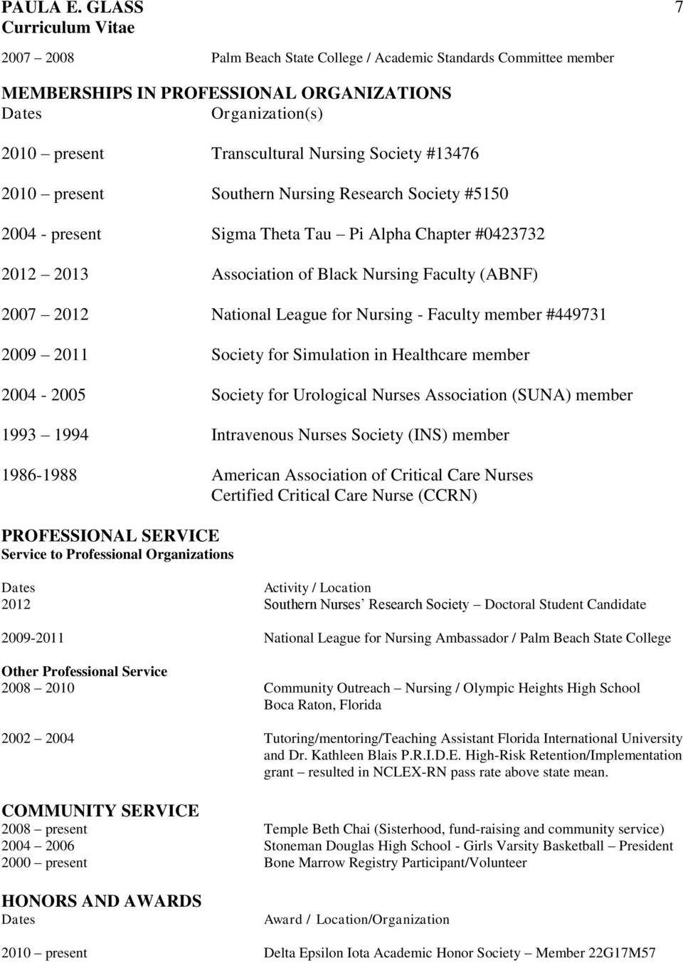 member #449731 2009 2011 Society for Simulation in Healthcare member 2004-2005 Society for Urological Nurses Association (SUNA) member 1993 1994 Intravenous Nurses Society (INS) member 1986-1988