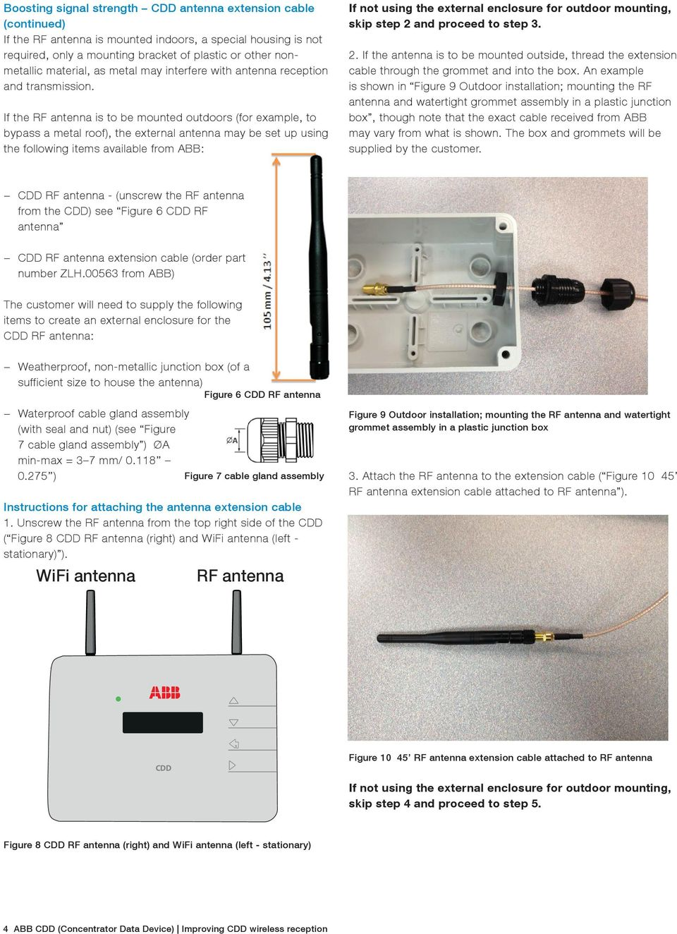 If the RF antenna is to be mounted outdoors (for example, to bypass a metal roof), the external antenna may be set up using the following items available from ABB: If not using the external enclosure