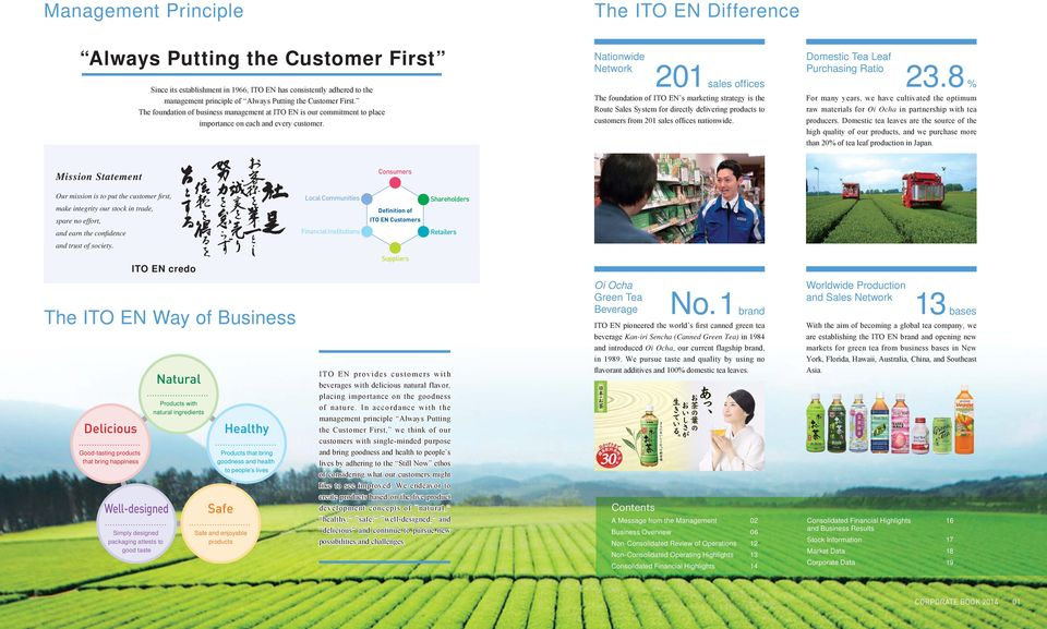 The ITO EN Difference Nationwide Network 21 sales offi ces The foundation of ITO EN s marketing strategy is the Route System for directly delivering products to customers from 21 sales offices