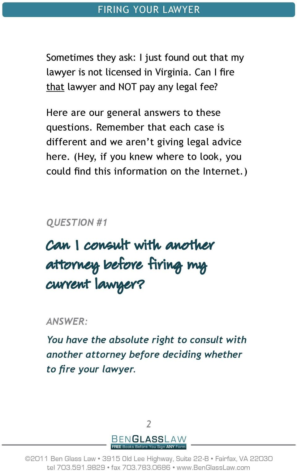 Remember that each case is different and we aren t giving legal advice here.