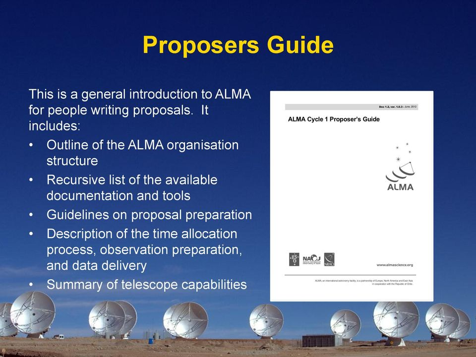documentation and tools Guidelines on proposal preparation Description of the time