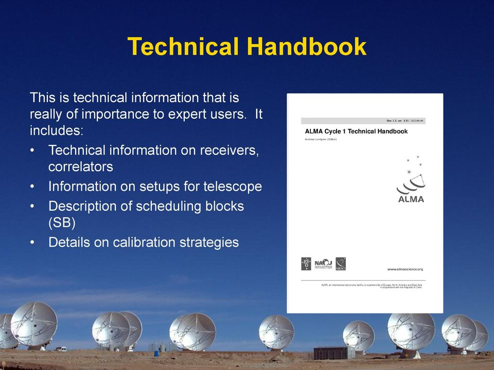 It includes: Technical information on receivers, correlators