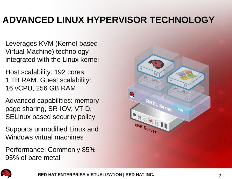 Guest scalability: 16 vcpu, 256 GB RAM Advanced capabilities: memory page sharing, SR-IOV, VT-D,