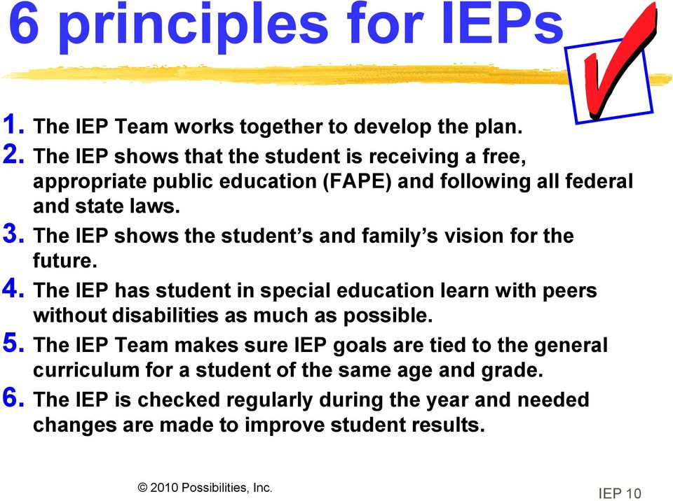 The IEP shows the student s and family s vision for the future. 4.