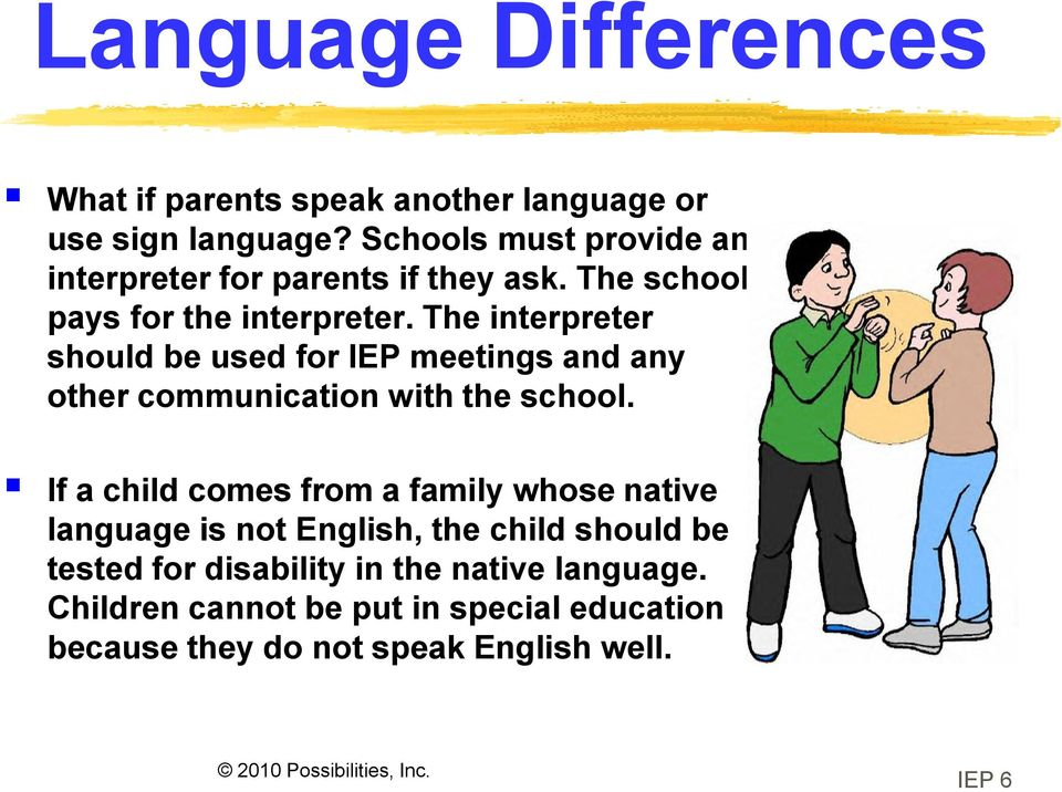 The interpreter should be used for IEP meetings and any other communication with the school.