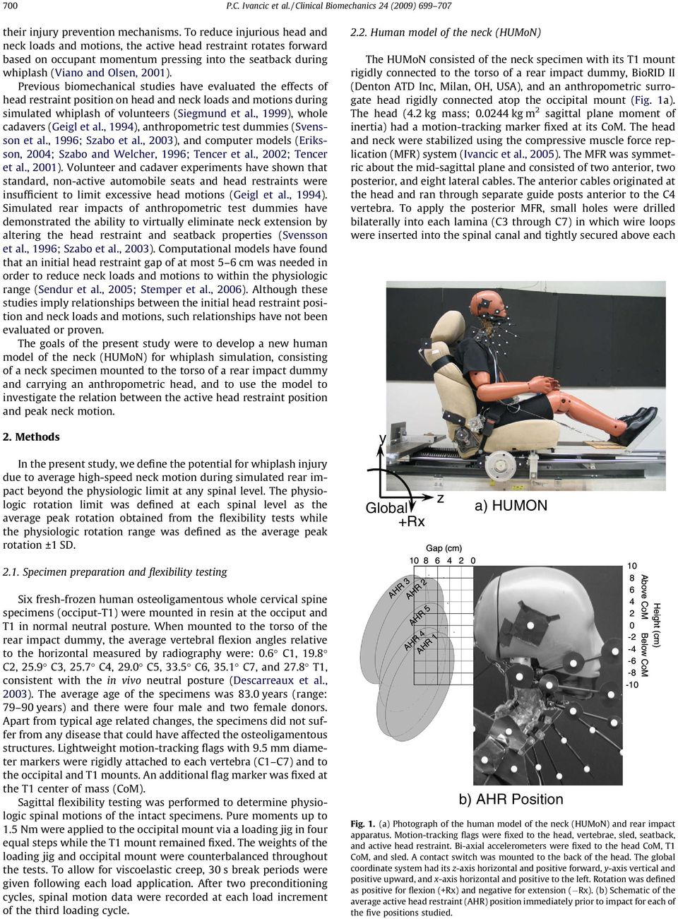 Previous biomechanical studies have evaluated the effects of head restraint position on head and neck loads and motions during simulated whiplash of volunteers (Siegmund et al.