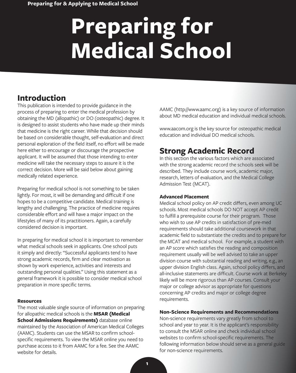 Preparing for Medical School - PDF